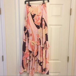 Free people floral print maxi skirt